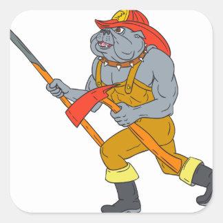 Pegatina Cuadrada Dibujo del hacha del fuego de Pike poste del