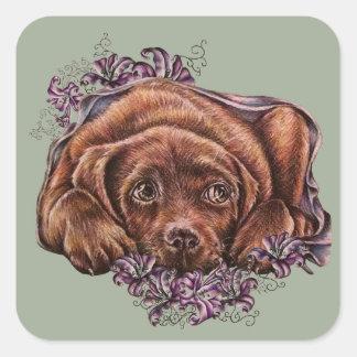 Pegatina Cuadrada Dibujo del perro y de los lirios de Brown Labrador