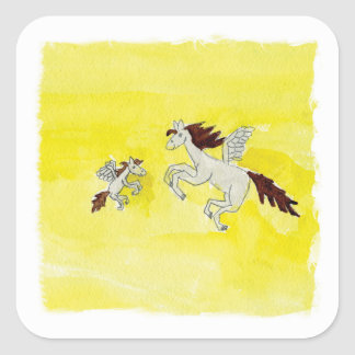 Pegatina Cuadrada Dibujo infantil de la acuarela con los caballos