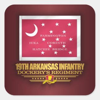 Pegatina Cuadrada diecinueveavo Infantería de Arkansas (F10)