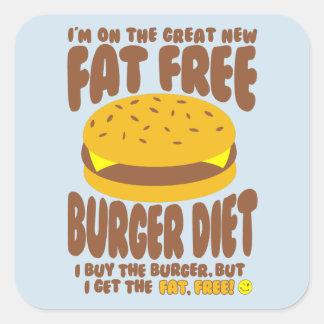 Pegatina Cuadrada Dieta sin grasa de la hamburguesa