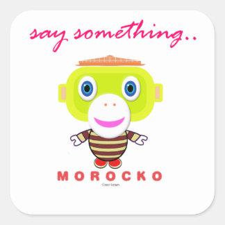 Pegatina Cuadrada Diga el Mono-Morocko Algo-Lindo