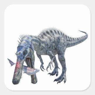 Pegatina Cuadrada Dinosaurio de Suchomimus que come un tiburón