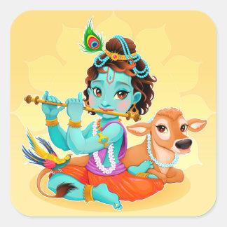 Pegatina Cuadrada Dios indio de Krishna que juega el ejemplo de la