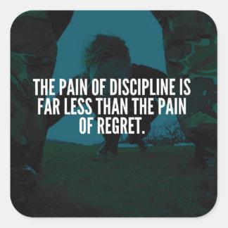 Pegatina Cuadrada Disciplina - entrenamiento inspirado