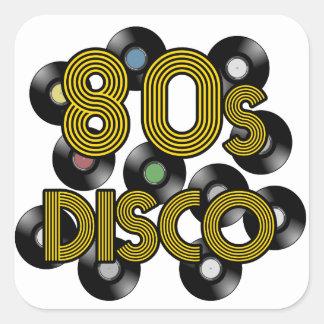 Pegatina Cuadrada discos de vinilo del disco 80s