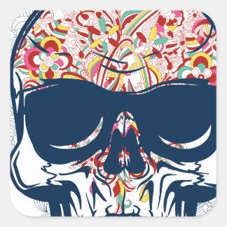 Pegatina Cuadrada diseño coloreado zombi muerto del cráneo