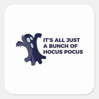 Pegatina Cuadrada Diseño de Halloween del abucheo del fantasma de la