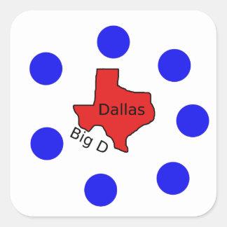 Pegatina Cuadrada Diseño de la ciudad de Dallas, Tejas (D) grande