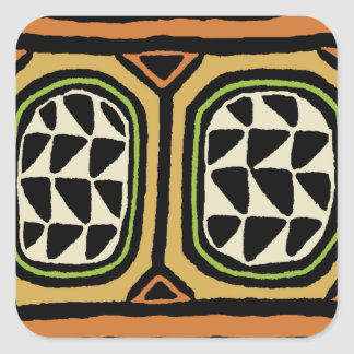 Pegatina Cuadrada Diseño de la materia textil de Kuba del africano