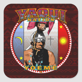 Pegatina Cuadrada Diseño del bailarín de los ciervos de Yaqui Yoeme