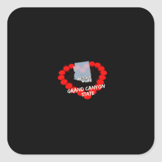 Pegatina Cuadrada Diseño del corazón de la vela para el estado de