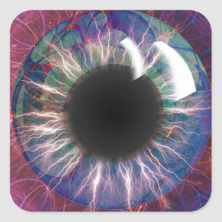 Pegatina Cuadrada Diseño del fractal del ojo de Tesla