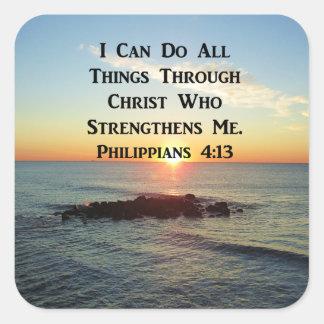 PEGATINA CUADRADA DISEÑO DIVINO DE LA ESCRITURA DEL 4:13 DE LOS