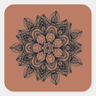 Pegatina Cuadrada Diseño floral negro complejo del medallón
