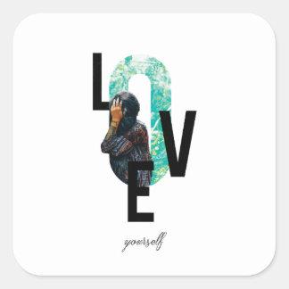 Pegatina Cuadrada Diseño moderno, cita del amor usted mismo, cuidado