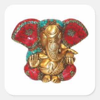 Pegatina Cuadrada DIWALI felices - Gracias GANAPATI Ganesh