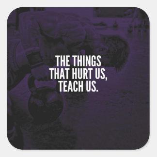 Pegatina Cuadrada Dolor - palabras inspiradas del entrenamiento -