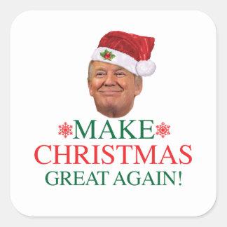 Pegatina Cuadrada Donald Trump - haga navidad al gran otra vez
