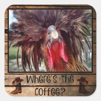 Pegatina Cuadrada Donde está el café con el pollo polaco