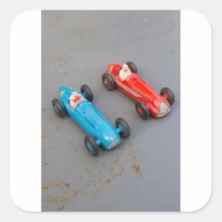Pegatina Cuadrada Dos coches del juguete del vintage