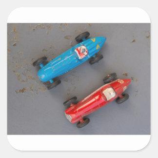 Pegatina Cuadrada Dos coches del vintage del juguete