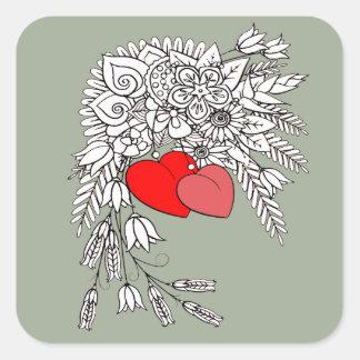 Pegatina Cuadrada Dos corazones 2