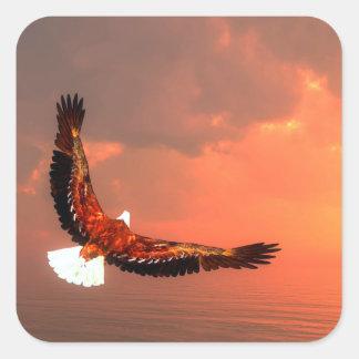 Pegatina Cuadrada Eagle que vuela - 3D rinden