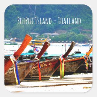 Pegatina Cuadrada Edición de la postal de Phiphiisland