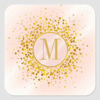 Pegatina Cuadrada Efecto metalizado de oro subió monograma del