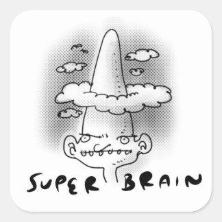 Pegatina Cuadrada ejemplo divertido del cerebro del estilo estupendo
