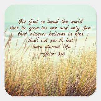 Pegatina Cuadrada El 3:16 de Juan para dios amó tan el mundo, verso
