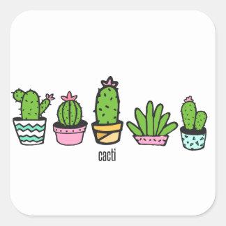Pegatina Cuadrada el agrupar de los cactus