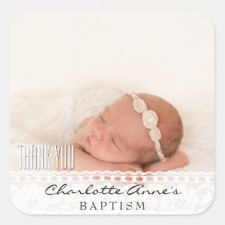 Pegatina Cuadrada El bautismo de la foto del chica le agradece