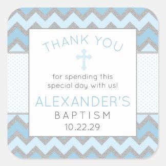 Pegatina Cuadrada El bautismo rústico del gris azul le agradece