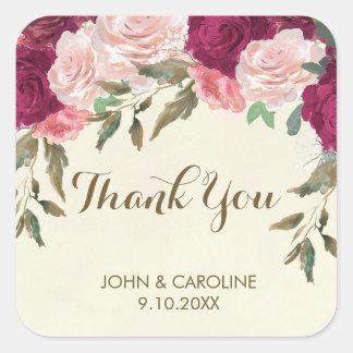 Pegatina Cuadrada el boda floral rosado de Borgoña le agradece
