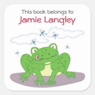 Pegatina Cuadrada El Bookplate este libro pertenece a la rana