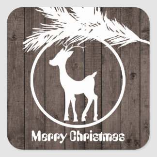 Pegatina Cuadrada El bulbo del reno del navidad del país añade al