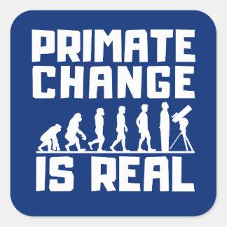 Pegatina Cuadrada El cambio de clima divertido del primate de la