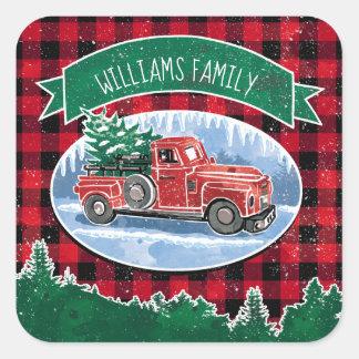 Pegatina Cuadrada El camión del vintage del navidad añade nombre