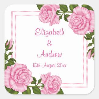 Pegatina Cuadrada El casarse de la esquina rosado bonito de los