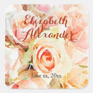 Pegatina Cuadrada El casarse dulce de los nombres de los rosas del