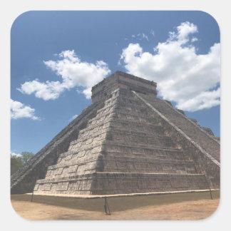 Pegatina Cuadrada EL Castillo - Chichen Itza, pegatinas de México #3