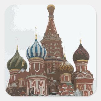 Pegatina Cuadrada El cathedral_russo de la albahaca del santo