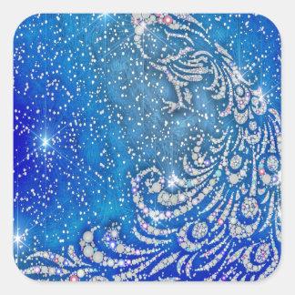 Pegatina Cuadrada El chispear pavo real azul y blanco
