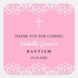 Pegatina Cuadrada El clavel rosado y el bautismo del blanco el | le