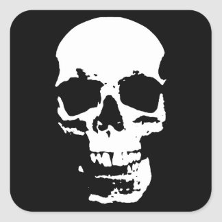 Pegatina Cuadrada El cráneo negro y blanco del arte pop elegante se