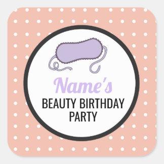 Pegatina Cuadrada El cumpleaños invita a los pegatinas que el