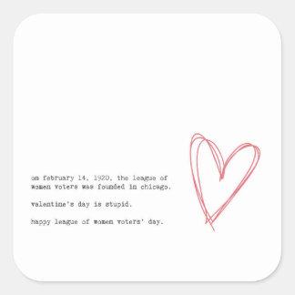 Pegatina Cuadrada El día de San Valentín anti
