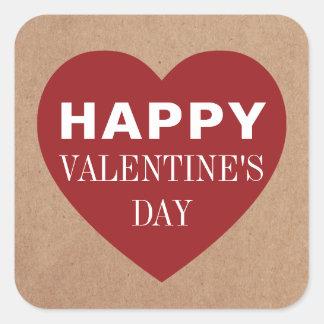 Pegatina Cuadrada El día de San Valentín rojo fresco simple del
